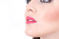 Closeup of girl's beautiful nose and red lips Royalty Free Stock Photography