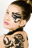 Closeup girl with scorpio painted on back Stock Photos