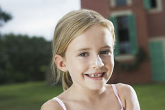 Closeup Of Girl With Sunscreen On Nose Royalty Free Stock Photo