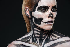 Closeup of girl with terrifying halloween makeup Royalty Free Stock Image