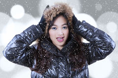 Closeup of girl in winter clothing Royalty Free Stock Photo