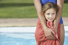 Closeup Of Girl Wrapped In Towel With Cropped Mother Stock Image