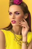 Closeup girl in yellow dress Royalty Free Stock Photos