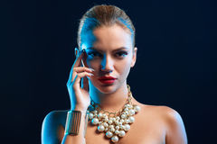 Closeup glamour fashion portrait of young woman Royalty Free Stock Photo