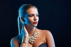 Closeup glamour fashion portrait of young woman Stock Photography