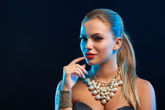 Closeup glamour fashion portrait of young woman Royalty Free Stock Photography