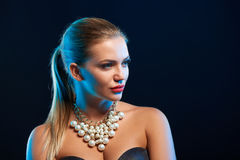 Closeup glamour fashion portrait of young woman Stock Images