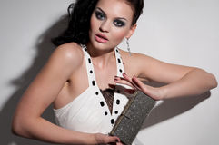 Closeup glamour woman. Bag. Vogue Royalty Free Stock Photo