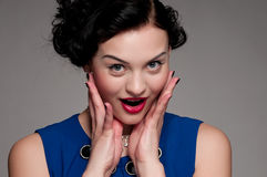 Closeup glamour woman with red lips. Vogue Royalty Free Stock Image