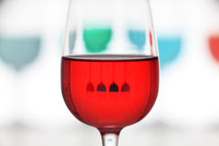Closeup of glass colored. With reflection and defocus background Royalty Free Stock Images