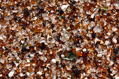 Closeup of glass fragments on beach Royalty Free Stock Photos