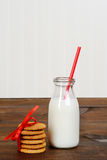 Closeup glass of milk with cookies Stock Image