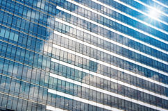 Closeup glass of Modern business building skyscrapers, Business concept of architecture Stock Image