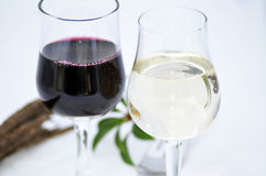 Glasses of water and wine. Closeup of two glasses one of water and one of red wine Royalty Free Stock Images