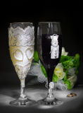 Closeup glasses in bride and goom costumes Stock Image