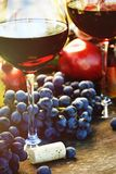Closeup of glasses of red wine and grapes stock photos