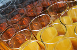 Closeup of glasses with soft drinks Royalty Free Stock Images