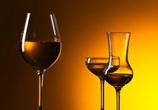 Closeup of glasses with white wine Royalty Free Stock Photo