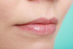 Closeup glossy female lips. Part of face. Royalty Free Stock Image