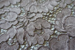 Closeup of glossy gray guipure lace Stock Image