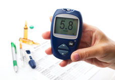 Closeup of glucometer Stock Images