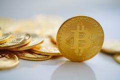 Closeup gold bitcoins Stock Image
