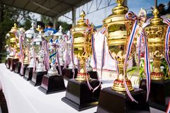 Closeup gold trophy cup and silver trophy Stock Image