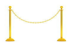 Closeup Golden Chain Barrier Stand. 3d Rendering Royalty Free Stock Photo
