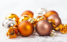 Closeup on golden Chrismas decorations Stock Photo