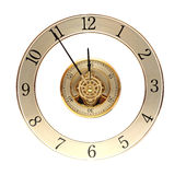 Closeup golden clock with gears Royalty Free Stock Photography