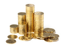 Closeup of a golden coins Stock Photos