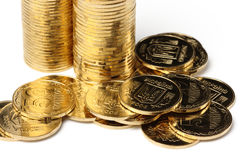 Closeup of a golden coins Royalty Free Stock Images