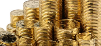 Closeup of golden coins Royalty Free Stock Photo
