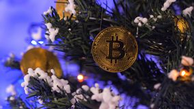 Coins Hang on Christmas Tree against Flashing Garland Closeup