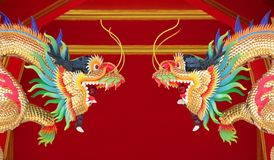 Golden dragon in chinese shrine. Closeup of golden dragon in chinese shrine stock image