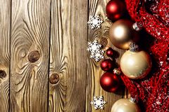 Christmas balls on wood royalty free stock photo