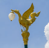 Closeup golden swan lamp. Royalty Free Stock Image