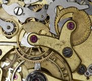 Closeup of golden watch bridge movement Stock Photography
