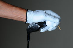 Closeup Golfer Hand Club Ball Stock Images