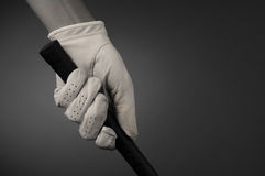 Closeup of a Golfers Gloved Hand on Club Stock Photography