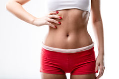 Closeup of a good shaped woman`s flat belly Stock Image