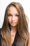 Closeup of gorgeous young brunette girl. Royalty Free Stock Photo