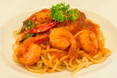 Closeup Gourmet Shrimps with Spaghetti Pasta and spicy Stock Photo