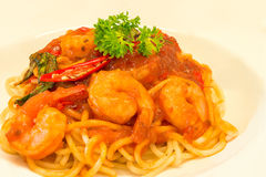 Closeup Gourmet Shrimps with Spaghetti Pasta and spicy Stock Photography
