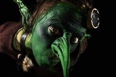 Closeup, grönt kvinnligt elakt troll med en lång näsa och freaky öron Arkivbilder