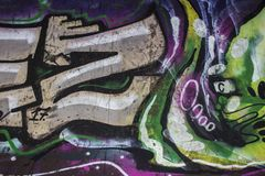 Closeup of Graffiti Art at a Skate park in Scandinavia with nice details and colors. royalty free stock images