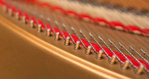 Closeup grand piano hitch pins. Piano strings hitch pins in line closeup Stock Photos