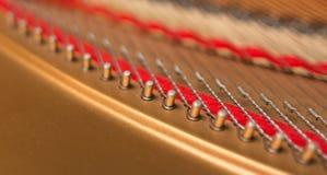 Closeup grand piano hitch pins. Stock Photos