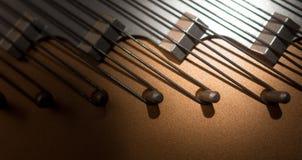 Closeup grand piano hitch pins. Royalty Free Stock Photo