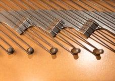 Closeup grand piano hitch pins. Royalty Free Stock Photos